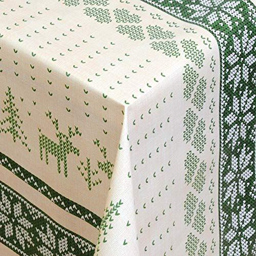 KEVKUS tafelzeil tafelkleed metergoed 01231-03 kerstrendier groen randpatroon selecteerbaar in vierkant rond ovaal 5 m x 140 cm eckig Wachstuchrolle multicolor