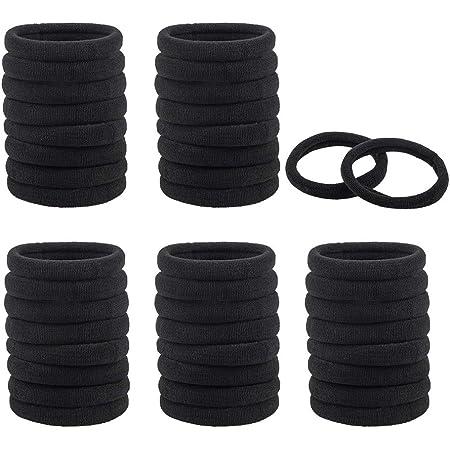 40ピースラージストレッチヘアネクタイヘア、DaKuanバンドポニーテールホルダーヘッドバンド(太くて重い巻き毛用)(黒、バンドロープ)