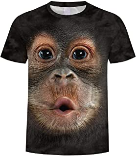 Men's Short Sleeve T-Shirt 3D Digital Printed Animal T-Shirt Monkey Shirt Casual Blouse Tee S-3XL
