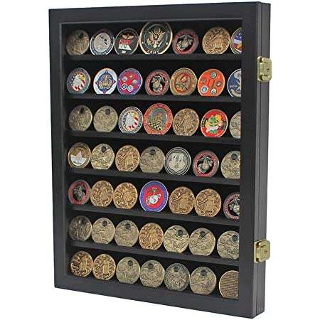 Military Medal Challenge Coin Casino Poker Chip Display Case Rack Wall Cabinet