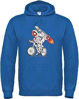 Druckerlebnis24 Sudadera con capucha con diseño de astronauta en bicicleta, cohete, fuego, unisex, para niños y niñas