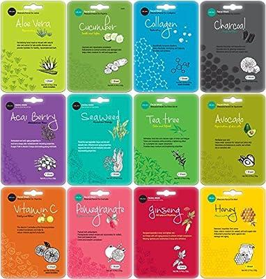 Celavi Essence Facial Face Mask Paper Sheet Korea Skin Care Moisturizing 12 Mix Bundle Pack
