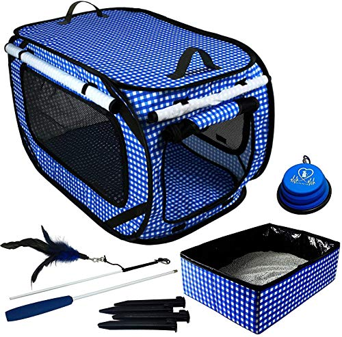 """Pet Fit For Life Extra Large (32""""x19""""x19"""") Collapsible/Portable Cat Cage/Condo with Portable Litter Box and Bonus Cat Feather Toy and Collapsible Water/Food Bowl Large - 32"""" x 19"""" x 19"""""""