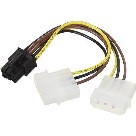 変換名人 ペリフェラル(大4ピン×2) → PCI-E(6ピン)電源変換ケーブル IDEP-PCIE6P