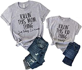 Mommy and Me Matching Letter Print T Shirt Family Matching Short Sleeve Casual Tee Blouse