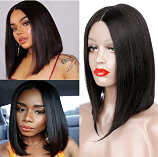 Goldfinch Straight Lace Front Bob Wig Brazilian Human Hair Bob Wig 150% Density Middle Part Straight Bob Wig Natural Black 12 inches Pre Plucked