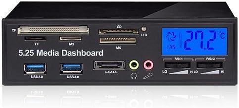 SODIAL Panel de medios multifuncionales Tablero frontal de 5.25 pulgadas Panel frontal con eSATA, USB 3.0, Puertos de audio de microfono/auriculares y lector de tarjetas integrado