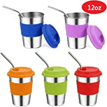 Stainless Steel Kids Cups with Lids and Straws,16oz Metal Kids Straw Cups with Lids,Leak Proof Kids Tumblers with Straws,Stainless Steel Kids Sippy Cups with Lids for Kids and Toddler