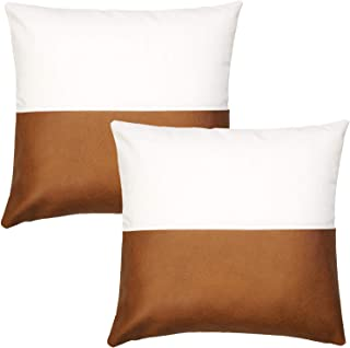 JOJUSIS Modern Leather and Cotton Linen Throw Pillow Covers for Couch Sofa Bed Set of 2 18 x 18 Inch 100% Faux Leather