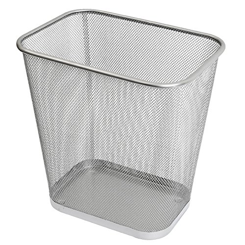 Ybm Home Steel Mesh Rectangular Open Top Waste Basket Bin Trash Can 8.5x12x11.75 Inches 2042 (1, Silver)