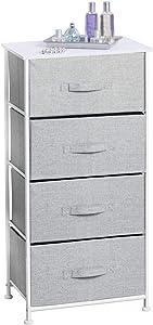 mDesign Comoda con 4 cajones - Organizador de armarios y vestidores en tela - Cajoneras para armarios, para el dormitorio o el cuarto de los niños - Color gris