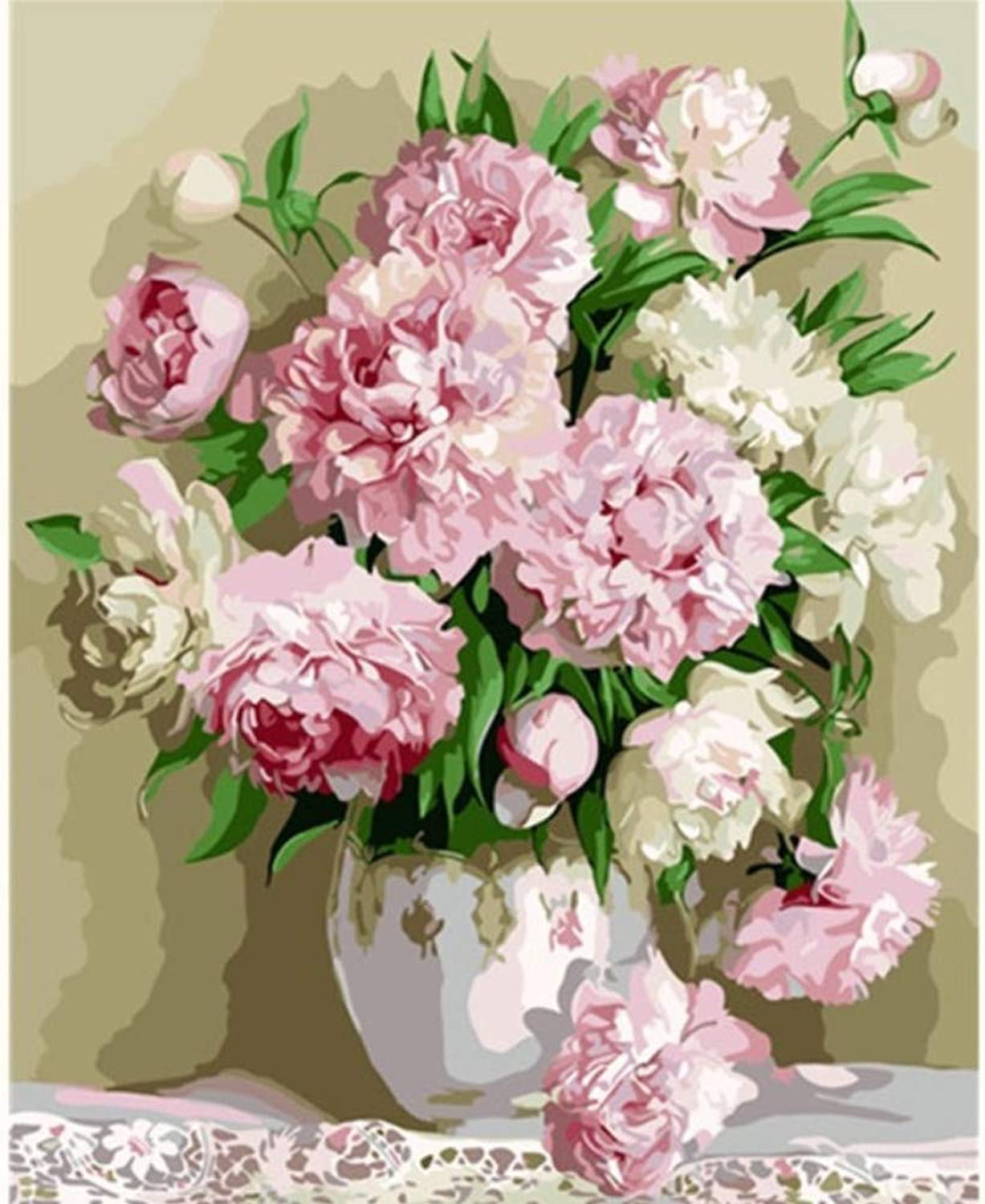 Flowers Pink Purple Peony Painting Picture by Numbers Oil Painting Home Decor Canvas Painting Wall Art cm Living Room Decor 50x60CM