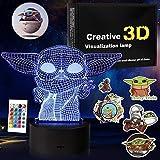 Baby Yoda Gifts - Lámpara de ilusión 3D, luz de noche 3D para niños con pegatinas gratis, juguetes de bebé Yoda para niños, regalos de decoración de cumpleaños para niña de 4 5 6 7 8 años de edad