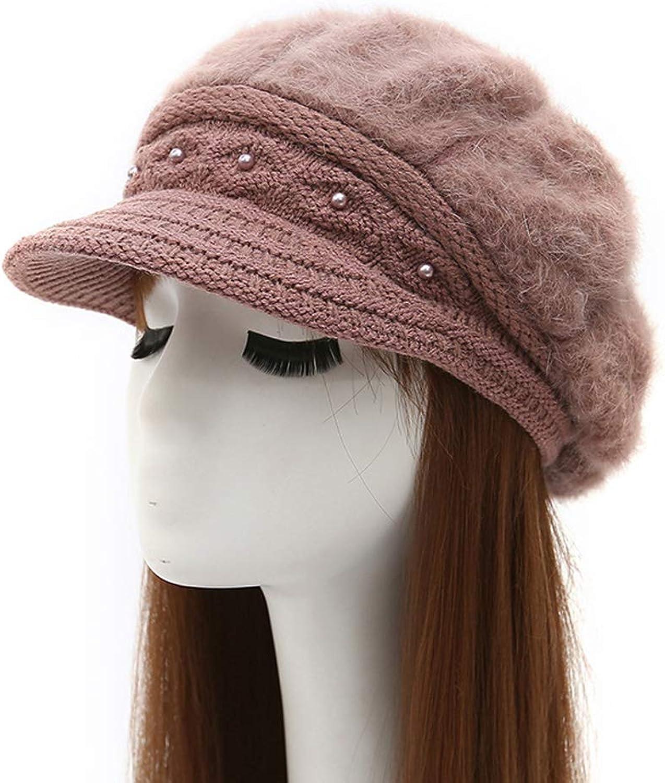 MOWANG Women Winter Knit Crochet Newsboy Caps Lady Warm Pearl Knit Beanie Hat