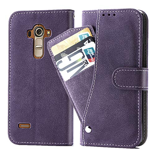 Asuwish LG G4 Wallet Case,Leather Phone Cases with Credit Card Holder Slot Kickstand Stand Slim Full Body Flip Folio Protective Cover for LG G4 Women Men Girls Purple