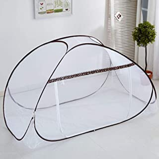 GE&YOBBY Dormitory Mosquito Net,pop Up Free Standing Portable Tent Folding Bed Canopy for Bunk Bed Camping-Brown 100x200x100cm(39x79x39inch)