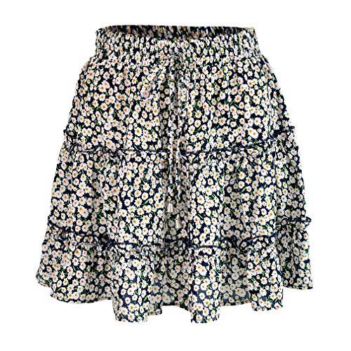 YeeHoo Falda Mujer Mini Corto Elástica Plisada Básica Multifuncional ,Faldas Cortas Volantes Kawaii con Estampado Floral