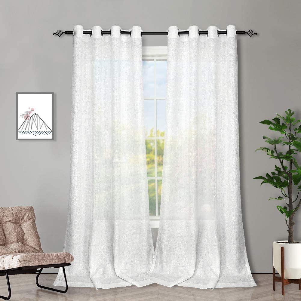 Melodieux 2 Panel Faux Linen Voile Net Curtains Semi Sheer Ring Top Drapes for Bedroom, Living Room, Window - White, 55 x 72 inch drop (140 x 183cm) White 55W x 72L Inch - 2 Panels