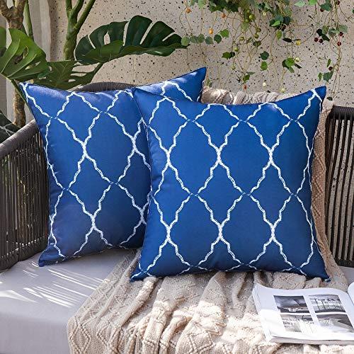 MIULEE Juego de 2 Piezas Funda de Cojines Impermeable Duradero Funda de Almohada Diseño Marroquí Cremallera Oculta Decoración para Sofá Silla Cama Dormitorio Aire Libre Oficina 45x45cm Azul Oscuro