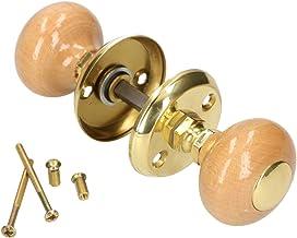 KOTARBAU® Deurknop draaibaar houten handvat bruin messing deurbeslag deurkruk deurkruk kogelknop deurknop rozet vierkante ...