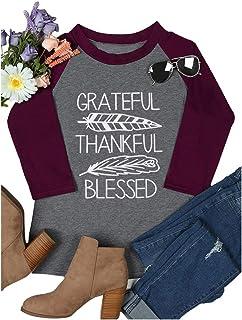 Thanksgiving Give Thanks Shirts Tee Women Halloween Pumpkin 3/4 Sleeve Tee Tops Blouse