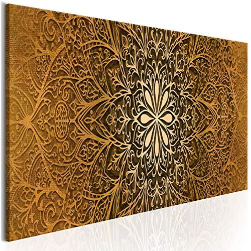 decomonkey Bilder Mandala 100x45 cm 1 Teilig Leinwandbilder Bild auf Leinwand Vlies Wandbild Kunstdruck Wanddeko Wand Wohnzimmer Wanddekoration Deko Orient Abstrakt Zen Gold