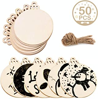 AerWo 50pcs DIY Wooden Christmas Ornaments with Holes, Unfinished Wood Slices Round Wooden Discs 3.5
