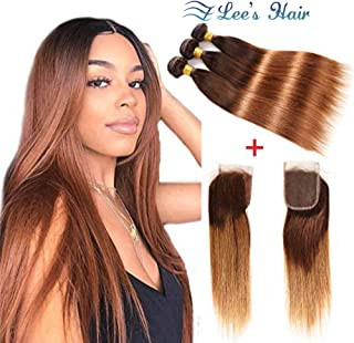 Ombre Brazilian Virgin Hair Straight Hair Bundles with Closure (12 14 16 with 10) 2 Tone Ombre Brazilian Human Hair Weave Bundles and Closure T4/30 Medium Brown/Auburn