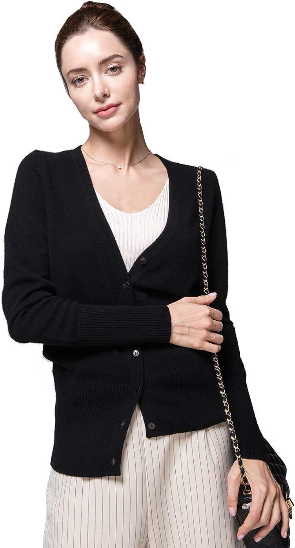 GUCIBODI Women's 100% Cashmere Sweater VNeck Long Sleeves Cardigans