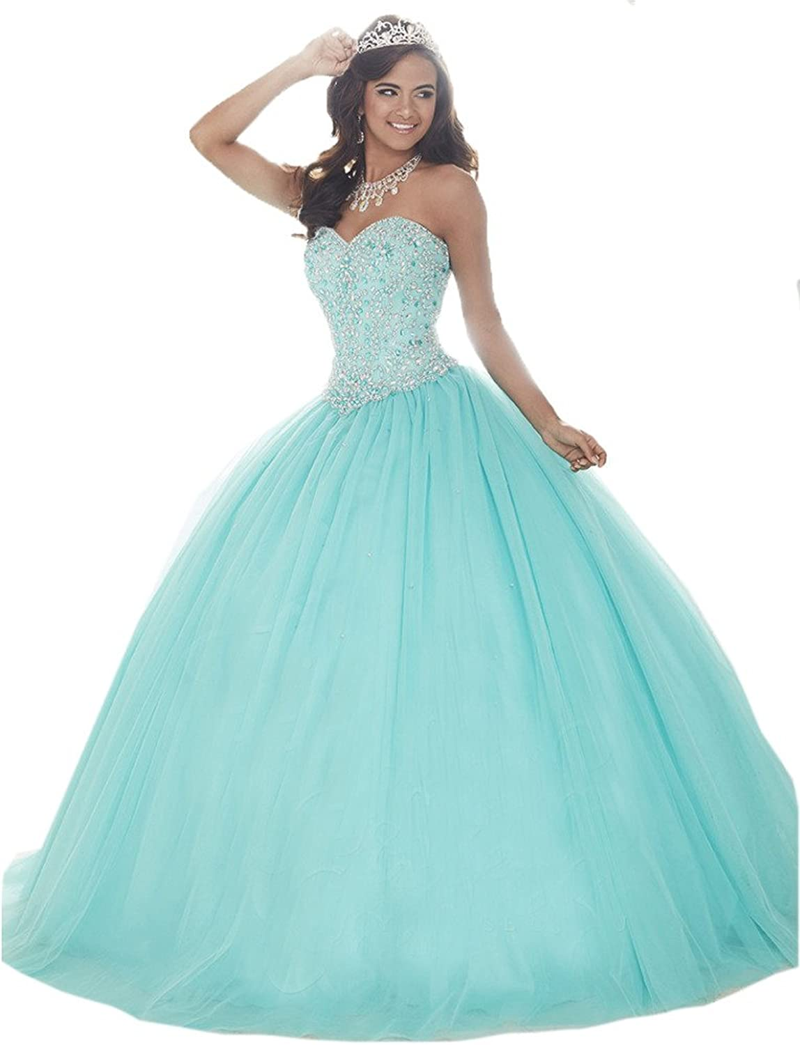 HSDJ Women's Party Ball Gowns Sweet 16 Crystals Tulle Quinceanera Dresses