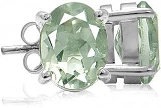 9x7MM Oval Shape Genuine Gemstone 925 Sterling Silver Stud Earrings