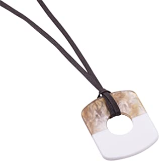 Spring Geometric Resin Pendant Necklace Adjustable Brown Leather Rope Necklaces For Women