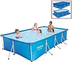 XGGYO Piscinas de Remo Rectangulares con Marco de Metal Desmontable sin Bomba de Filtro, Pool con Tapa + Fondo de Tela/azul / 259×170×61cm