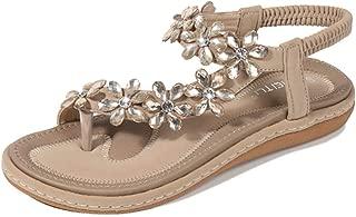 HPLY Women's Summer Sandals Slippers Elastic Flip Flops Bohemian Rhinestone Beach Sandal