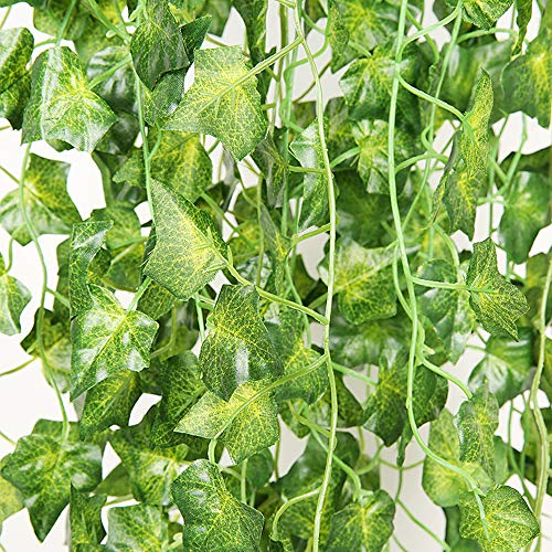Kalolary 12 Strands 86 FT Artificial Ivy Leaf Vine Garland, Fake Foliage Hanging Plants, Greenery for Home Office Wedding Party Garden Wall Outdoor Decoration