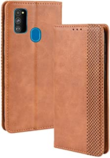 Leather Case Compatible with Samsung Galaxy M30S,PU Leather+Soft Inner Design Business Magnetic Closure Flip Wallet Case Cover Phone case (Color : Brown)