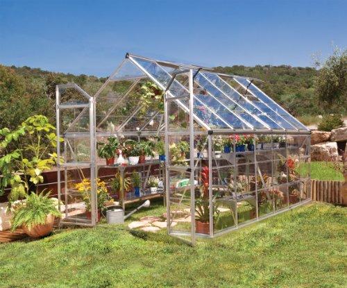 Palram Aluminium Gewächshaus Gartenhaus aus Glas Panorama/Octave // 366x243x231 cm (LxBxH); Treibhaus & Tomatenhaus zur Aufzucht