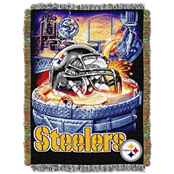 Officially Licensed NFL Pittsburgh Steelers  Home Field Advantage  Woven Tapestry Throw Blanket 48  x 60  Multi Color