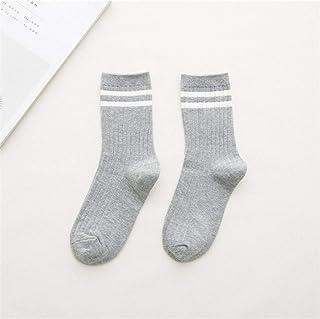 AUBERSIT, Divertidos Calcetines de algodón a Rayas Sueltas, Calcetines de Mujer Coloridos Retro, Cuatro Estaciones, Calcetines Grises