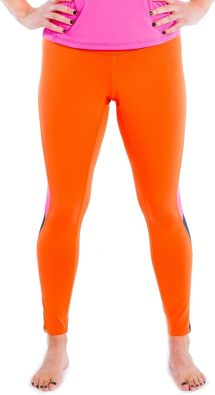 Women's Leggings Yoga Running Workout Tights – 2 Side Pockets - USA Made Orange