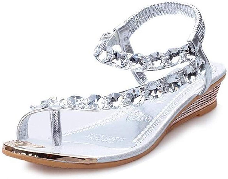 Sandals Summer Style Bling Diamond Fashion Peep Toe Women Sandal Flat shoes Woman gold Silver