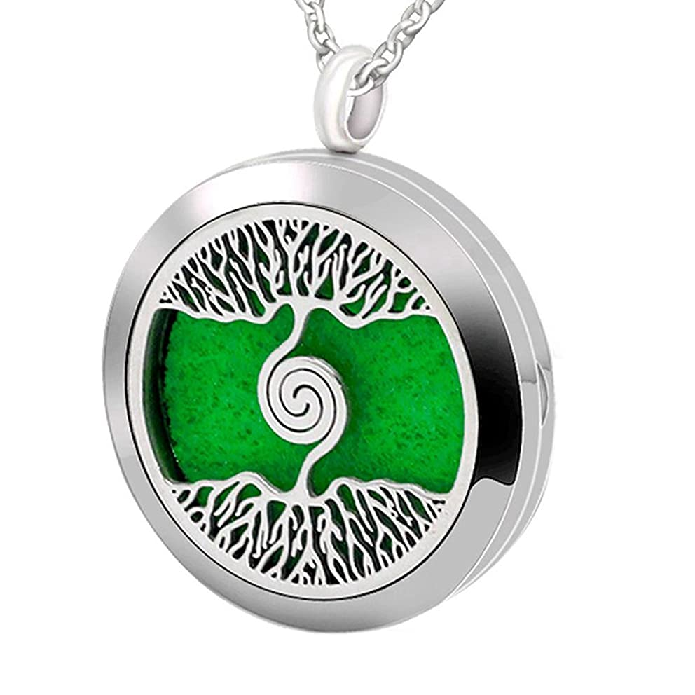 Popeoiuh Essential Oil Diffuser Necklace Stainless Steel Aromatherapy Pendant Jewelry Set Gift for Women Men Boys Girls Kids