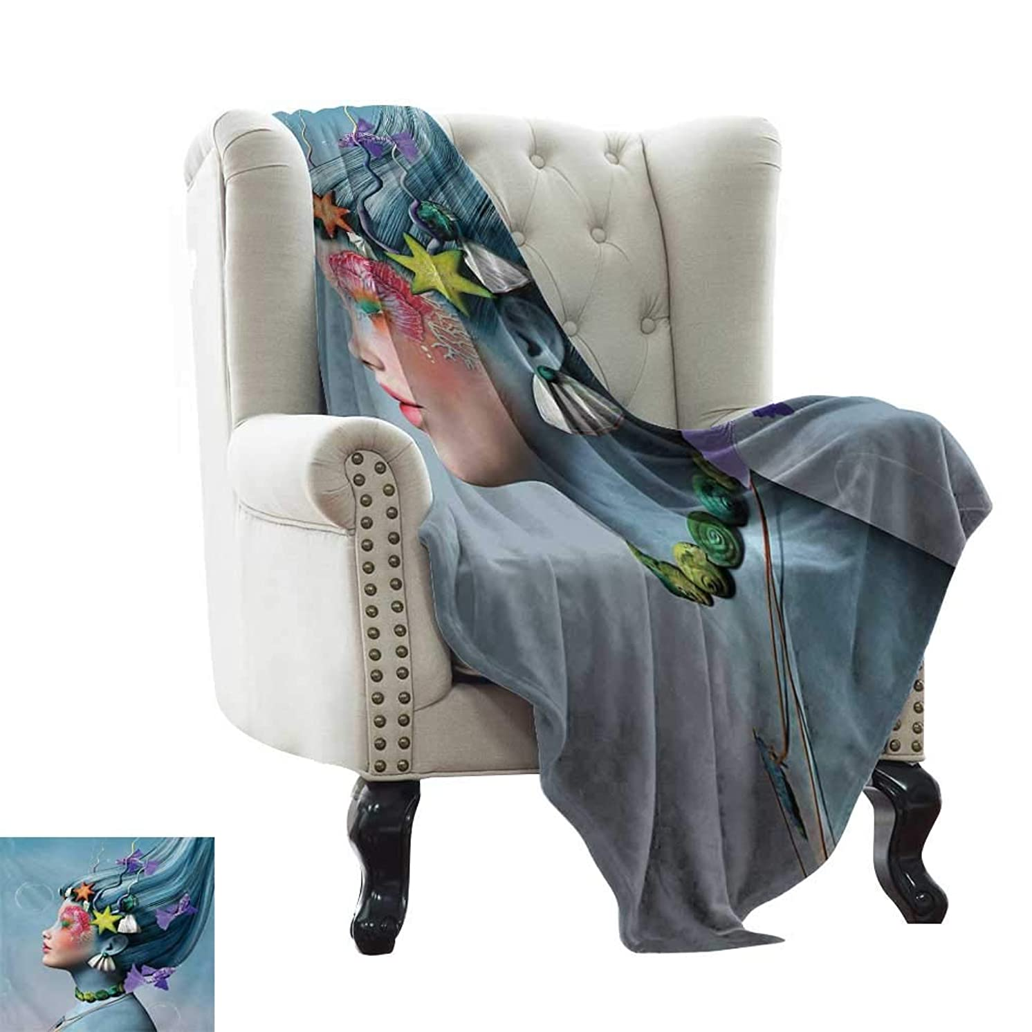 Weighted Blanket for Kids Mermaid,Woman with Underwater Themed Make Up Hairstyle Starfishes Seashells Fishes Bubbles,Multicolor Weighted for Adults Kids, Better Deeper Sleep 70