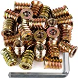 40Pcs Anwenk 1/4'-20 x 15mm Furniture Screw in Nut Threaded Wood Inserts Bolt Fastener Connector Hex Socket...