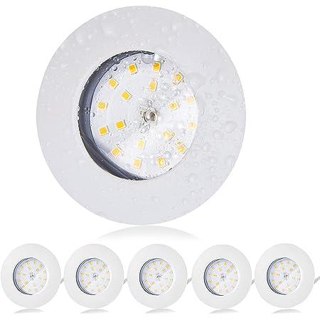Bojim Lot de 6 Spot LED Encastrable Salle de Bain IP44 Étanche, 6 x 5.5W SpotLedExtraPlat, 4500K Blanc Neutre 470LM 2835 SMD, LedSpotEncastré 230V pour Salle de bain,Cuisine, Salon, Boutique