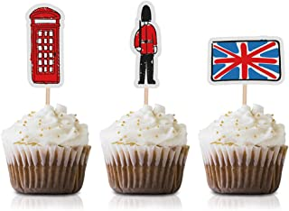 London Cupcake Toppers Picks, 24-Pack Baby Shower Or Birthday British UK Party Supply Decorations