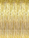GOER 3.2 ft x 9.8 ft Metallic Tinsel Foil Fringe Curtains for Party Photo Backdrop Wedding Decor (1 Pack, Gold)