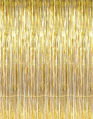 GOER 3.2 ft x 9.8 ft Metallic Tinsel Foil Fringe Curtains for Party Photo Backdrop