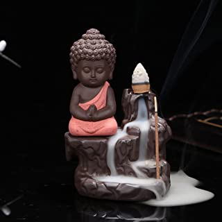 Craft Mansion Meditating Monk Buddha Smoke Backflow Cone with 10 insense Cones