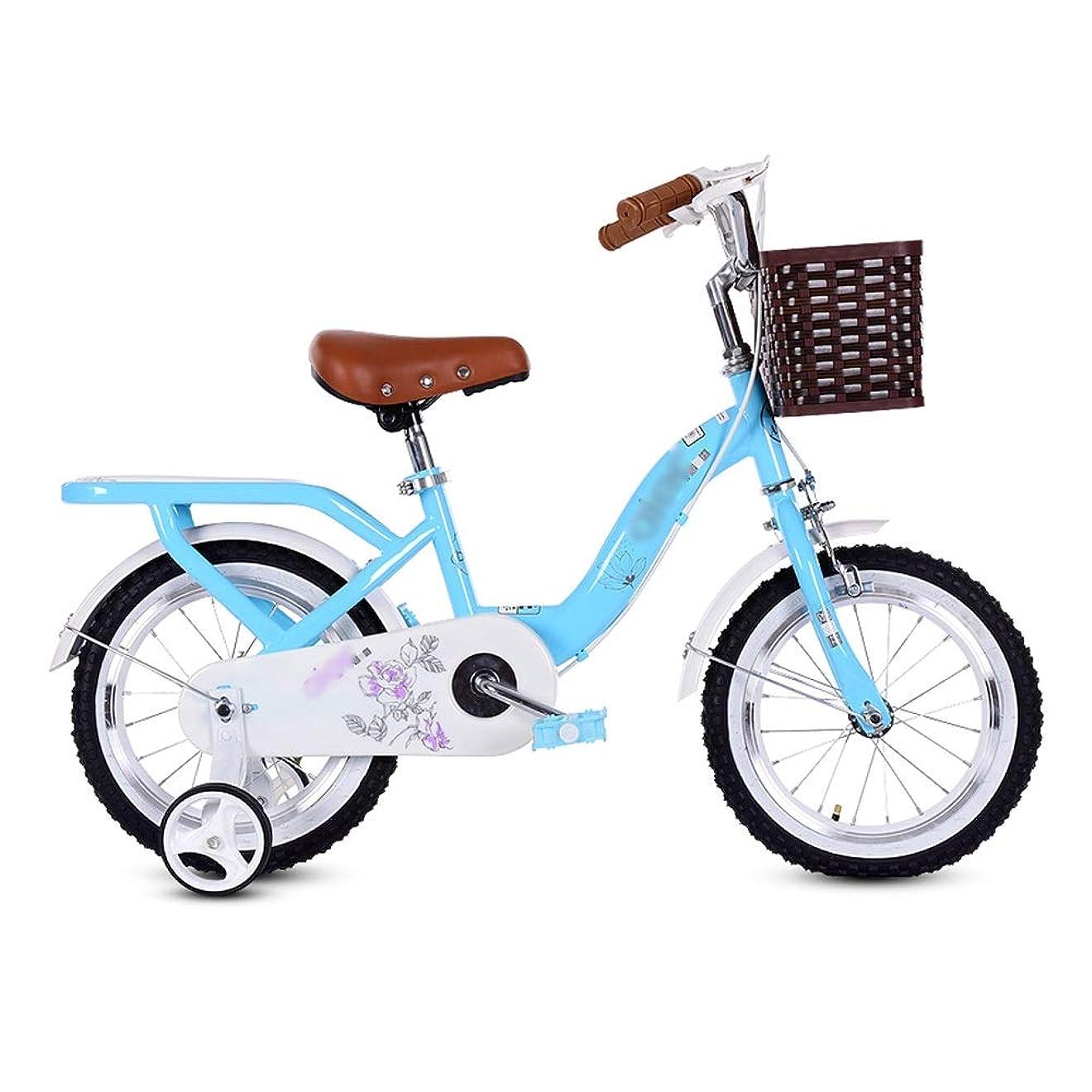 自宅でブラウスユダヤ人LJJL 子供用自転車3歳の女の子、後部座席と竹かご付きペダル自転車12/14/16/18/20インチ 子ども用自転車 (Size : 16